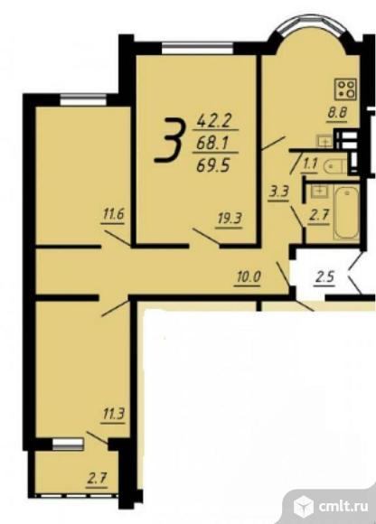 3-комнатная квартира 69,8 кв.м. Фото 1.