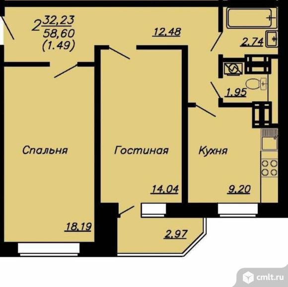 2-комнатная квартира 60,09 кв.м. Фото 1.