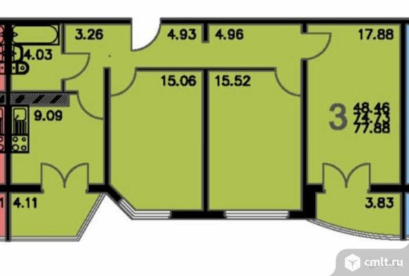 3-комнатная квартира 77,88 кв.м. Фото 1.