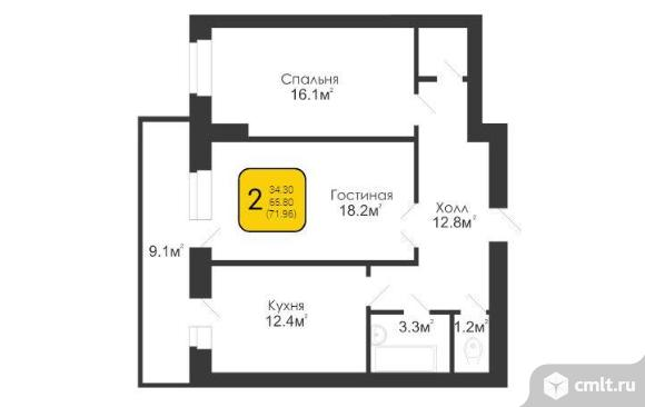 2-комнатная квартира 71,96 кв.м. Фото 2.