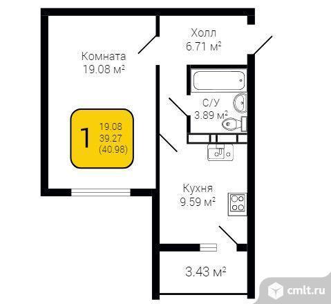 1-комнатная квартира 40,98 кв.м. Фото 2.