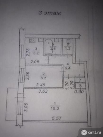 2-комнатная квартира 43 кв.м. Фото 4.
