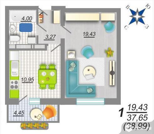 1-комнатная квартира 38,2 кв.м. Фото 7.