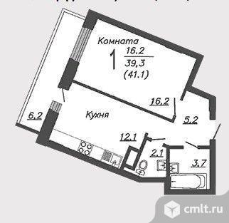 1-комнатная квартира 41,1 кв.м. Фото 2.
