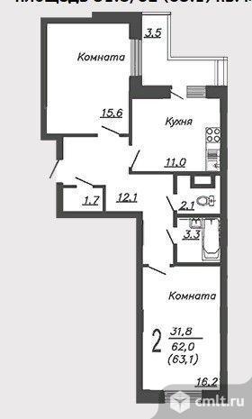 2-комнатная квартира 63 кв.м. Фото 2.