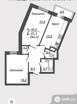 2-комнатная квартира 62,3 кв.м. Фото 2.