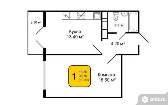 1-комнатная квартира 40,8 кв.м. Фото 2.