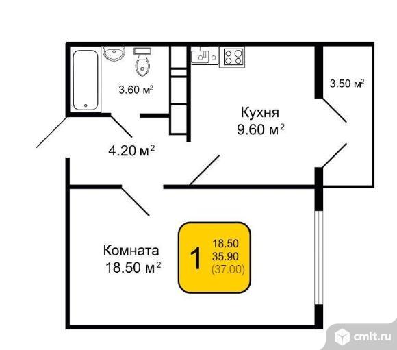 1-комнатная квартира 37 кв.м. Фото 2.