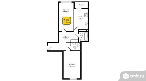 2-комнатная квартира 70 кв.м. Фото 5.