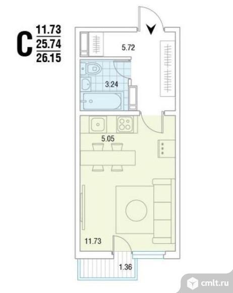 1-комнатная квартира 26,2 кв.м. Фото 1.