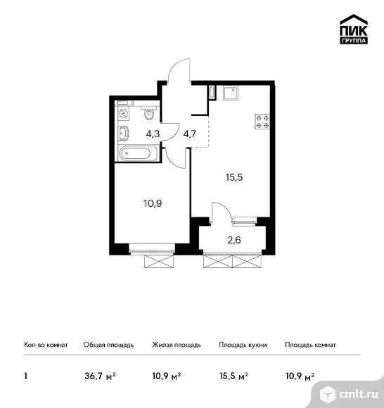 1-комнатная квартира 36,7 кв.м. Фото 1.