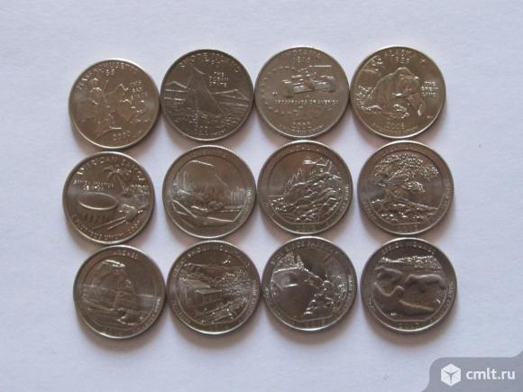 25 центов США 11 штук UNC. Фото 1.