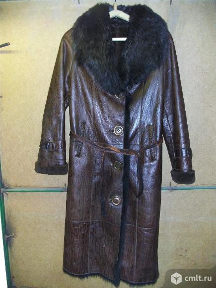 Пальто (дублёнка) зимнее, кожаное, женское. Фото 1.