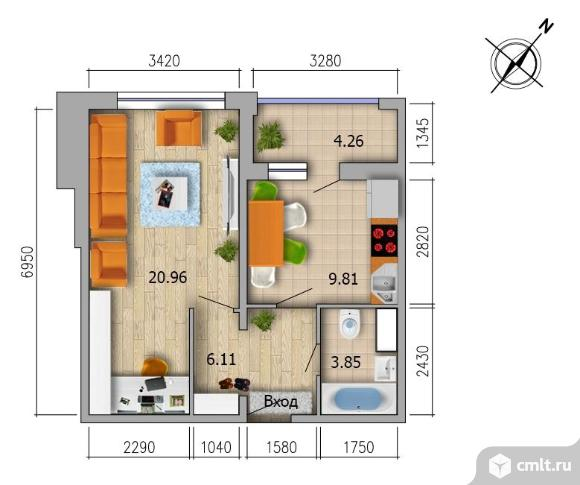 1-комнатная квартира 42 кв.м. Фото 2.