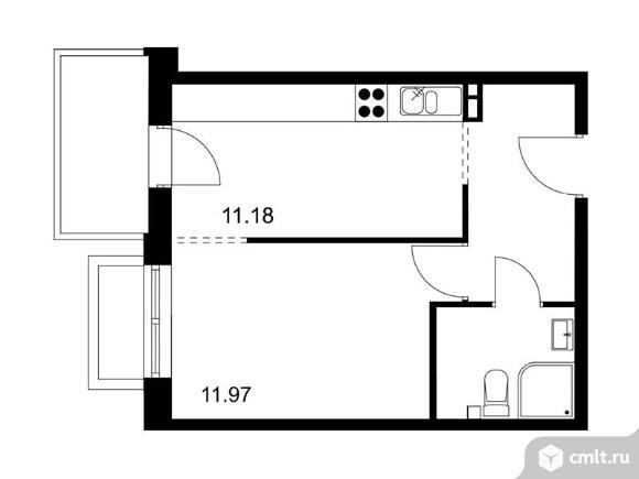 1-комнатная квартира 33,96 кв.м. Фото 1.