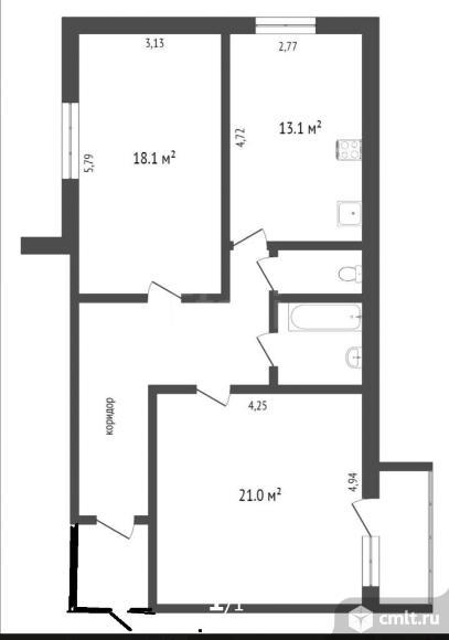 Продаю 2-х комнатную квартиру 73.1/39.1/13.1. Фото 17.