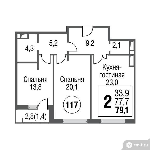 2-комнатная квартира 79,1 кв.м. Фото 1.