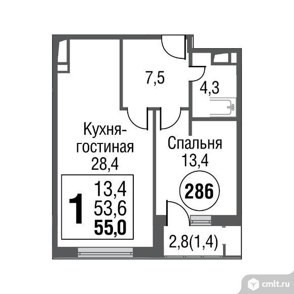 1-комнатная квартира 55 кв.м. Фото 1.