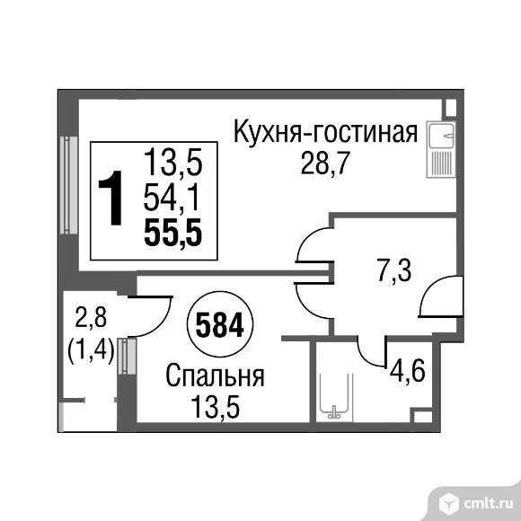 1-комнатная квартира 55,4 кв.м. Фото 1.