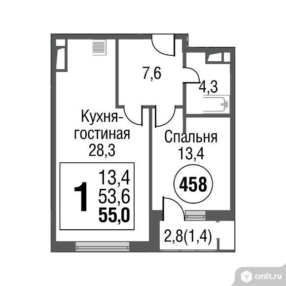 1-комнатная квартира 54,9 кв.м. Фото 1.