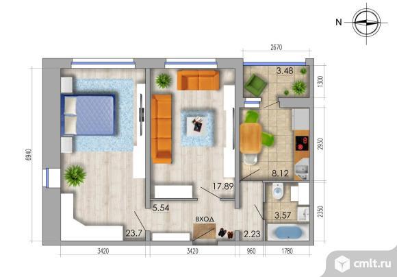 2-комнатная квартира 62,79 кв.м. Фото 1.