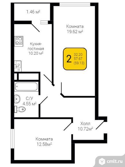 2-комнатная квартира 60 кв.м. Фото 4.