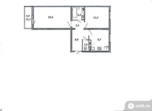 2-комнатная квартира 57 кв.м. Фото 4.