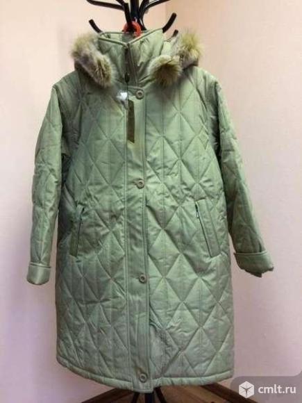 Женская куртка пальто стёганная утеплённая пухом. Фото 1.