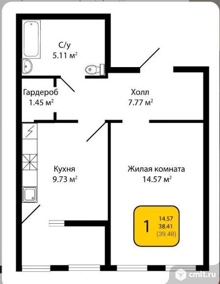 1-комнатная квартира 39 кв.м. Фото 6.