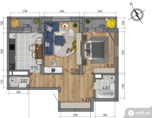 2-комнатная квартира 65,04 кв.м. Фото 1.
