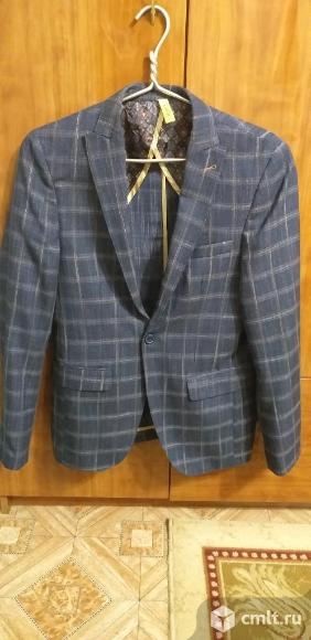 Продаю пиджак 48 р. хлопок 100% новый производство Турция, синий в клетку. Фото 1.