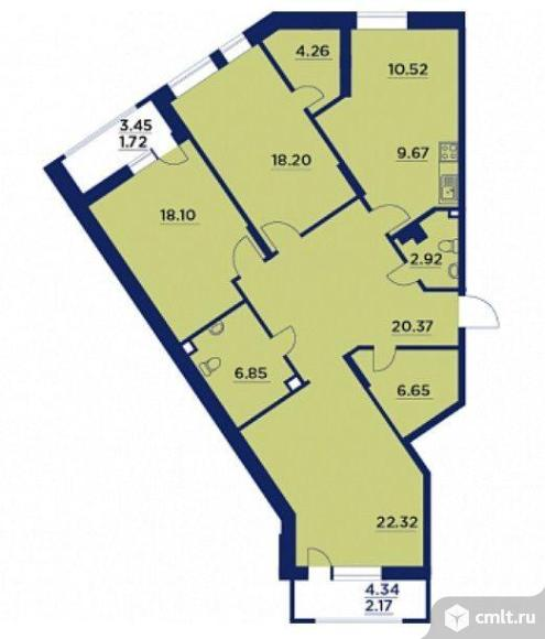 3-комнатная квартира 123,31 кв.м. Фото 1.