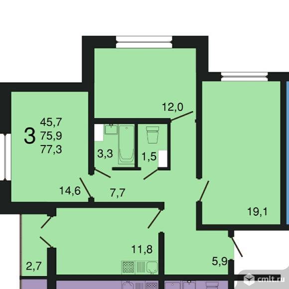 3-комнатная квартира 77,3 кв.м. Фото 1.