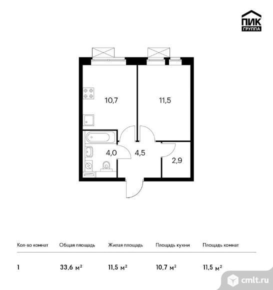 1-комнатная квартира 33,6 кв.м. Фото 1.