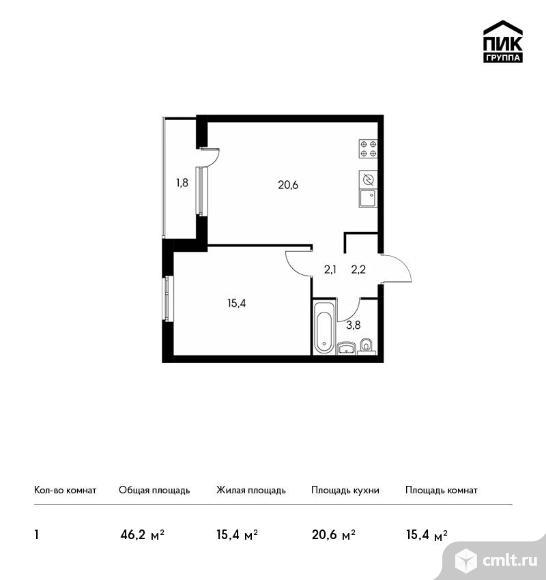 1-комнатная квартира 46,2 кв.м. Фото 1.