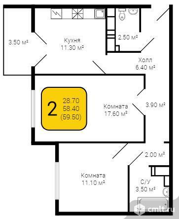 2-комнатная квартира 59,5 кв.м. Фото 5.