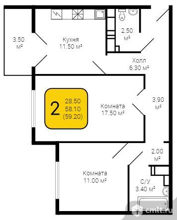 2-комнатная квартира 59 кв.м. Фото 5.