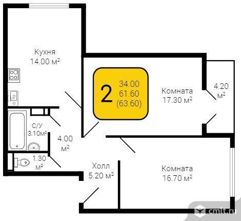 2-комнатная квартира 63,6 кв.м. Фото 5.