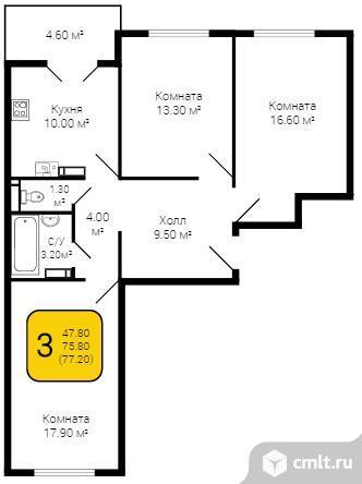 3-комнатная квартира 77,2 кв.м. Фото 5.