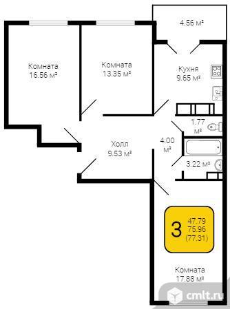 3-комнатная квартира 77,31 кв.м. Фото 5.