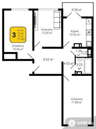 3-комнатная квартира 77,4 кв.м. Фото 5.