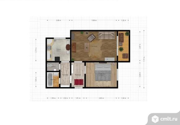 2-комнатная квартира 51,9 кв.м. Фото 1.