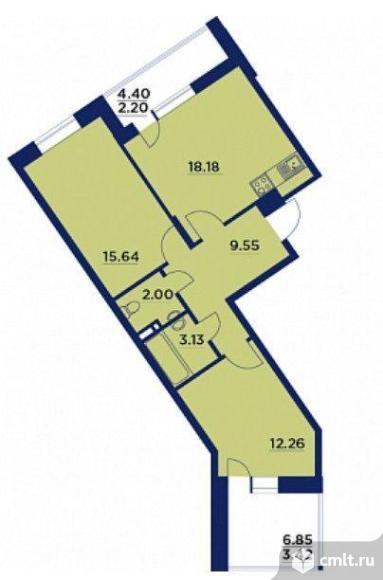 2-комнатная квартира 66,38 кв.м. Фото 1.