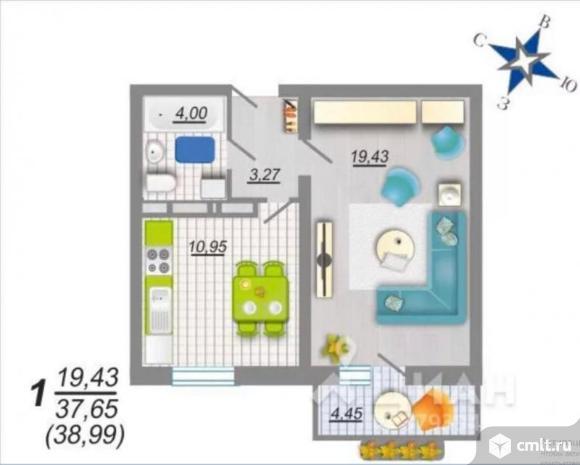 1-комнатная квартира 38,99 кв.м. Фото 11.