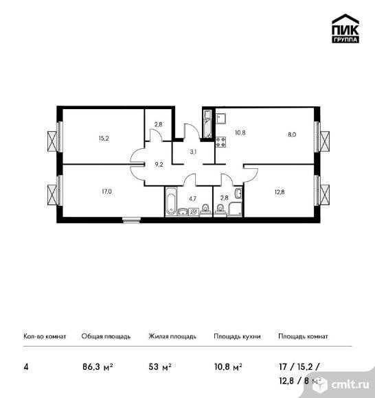 4-комнатная квартира 86,3 кв.м. Фото 1.