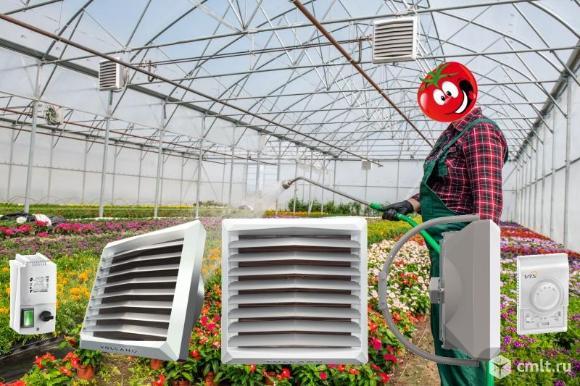 Экономичное отопление теплиц тепловентиляторами на горячей воде VOLCANO. Фото 1.