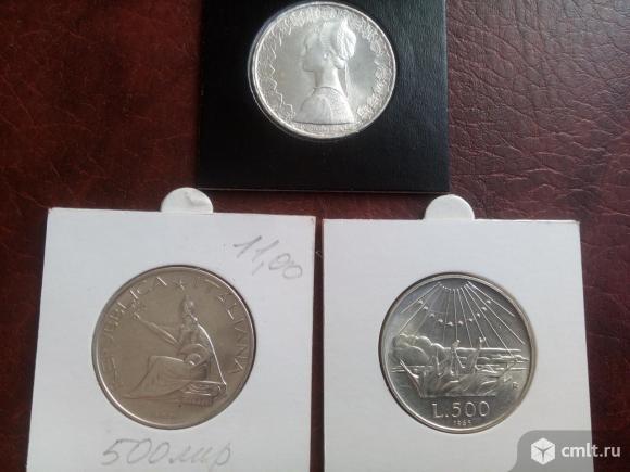 3шт. Одним лотом. Италия 500лир. 1970-61-65год. Серебро.. Фото 2.