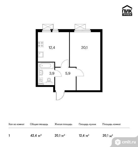 1-комнатная квартира 42,4 кв.м. Фото 1.