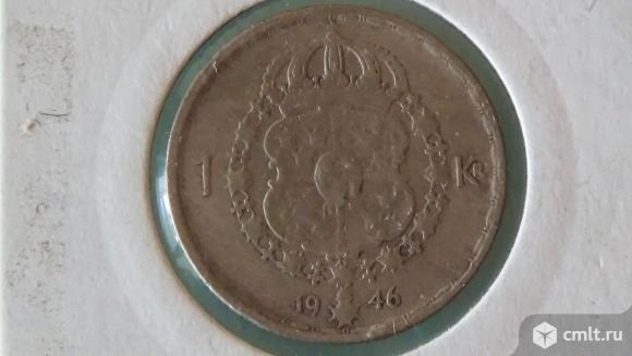 Швеция 1 крона серебро. Фото 1.