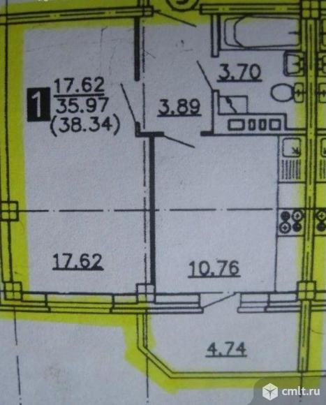 1-комнатная квартира 38,34 кв.м. Фото 2.